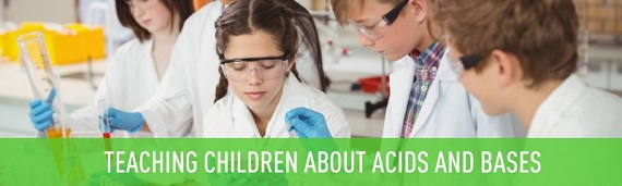 Children learning about acids and bases